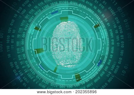 Abstract circular tech pattern with thumb print and binary code. Innovation and biometrics concept. 3D Rendering