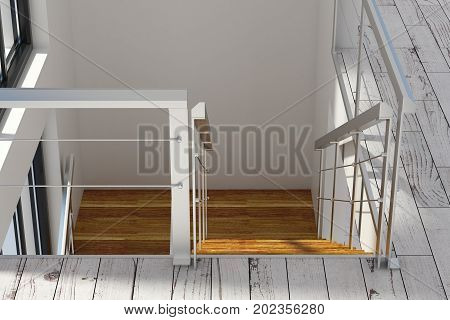 Clean concrete room interior with staircase going down. 3D Rendering