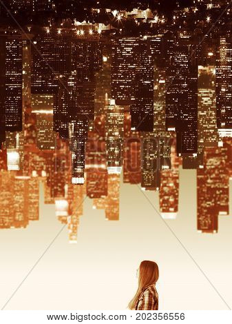 Tiny thoughtful young woman on abstract upside down city background. Dream concept