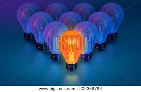 bulb lights creative idea and leadership 3D rendering think different