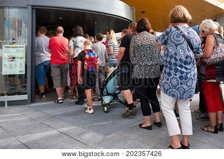 MAGDEBURG, GERMANY - AUGUST 31, 2017: Opening of a new Ikea store in Magdeburg. The first customers enter the building at 10 o'clock in the morning.
