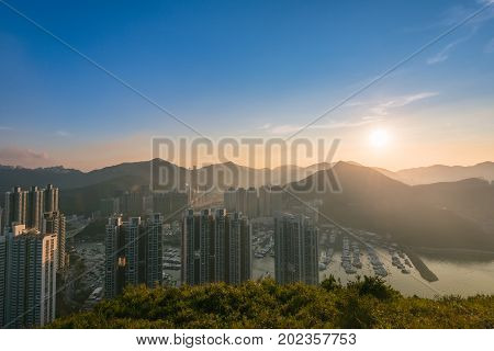 Aberdeen Typhoon Shelters View At Yuk Kwai Shan (mount Johnston)located In Ap Lei Chau, Hong Kong, I