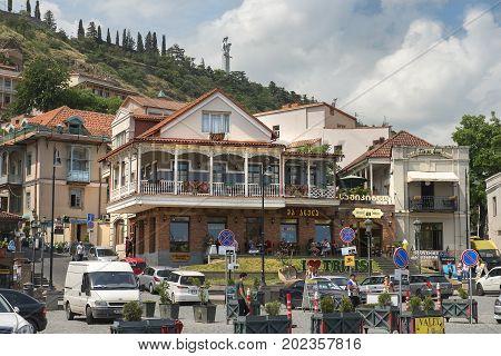 Tbilisi, Georgia - Juny 6, 2017: restaurant Machahela (Machakhela) on the square Meidani (Maidan) in old city of Tbilisi, capital of Georgia on Juny 6, 2017