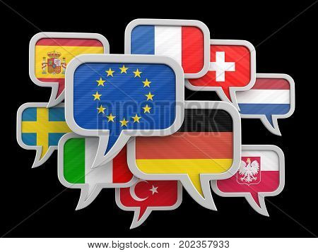 3D Illustration. Speech bubbles with flags of Europian Union. Image with clipping path