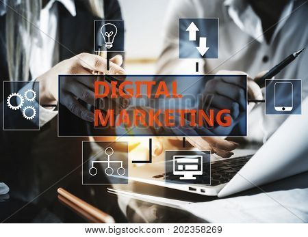 Workplace with digital marketing screen. Advertisement concept