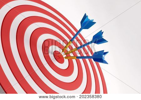 Close up of success dart board target with arrows on white background. Scoring concept. 3D Rendering