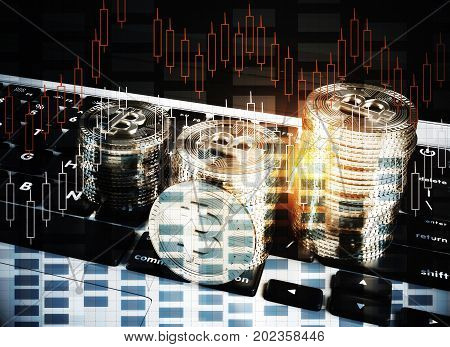Abstract image of laptop keyboard with bitcoin and digital forex chart. Cryptocurrency concept. Double exposure