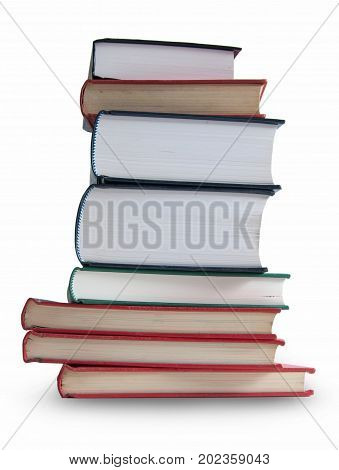 Many books isolated over a white background