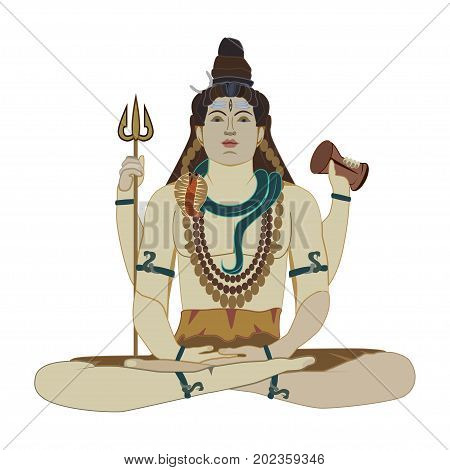 Vector illustration of Hindu God Shiva Deity of Hinduism in lotus position. Flat style design.