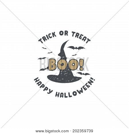 Halloween badge. Vintage hand drawn logo design. Monochrome style. Typography elements and Halloween symbols - hat and bats. Stock vector isolated on white background.