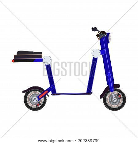 Vector illustration of electric folding scooter. Motorized scooter e-bike isolated on white background. City modern transport flat style design.