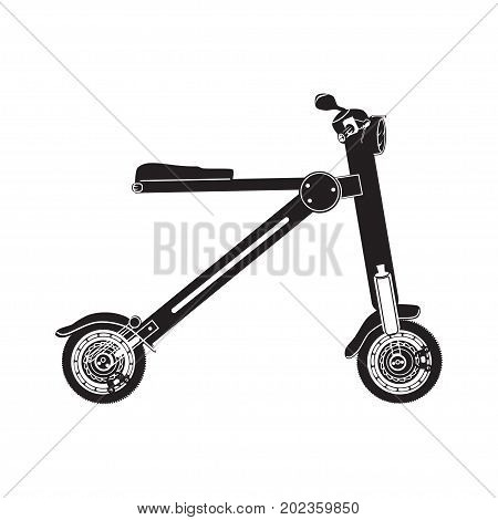 Vector illustration of electric folding scooter. Motorized scooter bike isolated on white background. Black and white city modern transport flat style design.