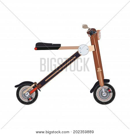 Vector illustration of electric folding scooter. Motorized scooter bike isolated on white background. City modern transport flat style design.