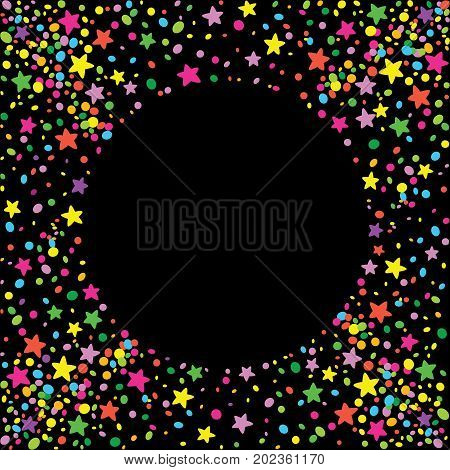 Dark background with confetti and colorful stars around a space for text