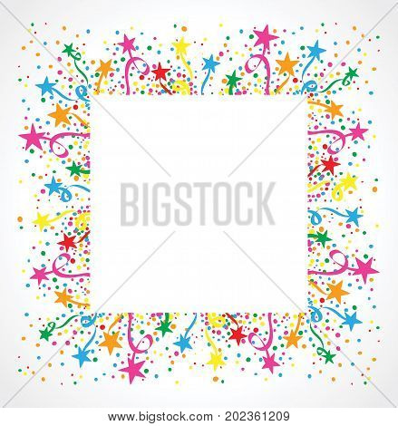 White background with confetti and colorful stars around a white space for text
