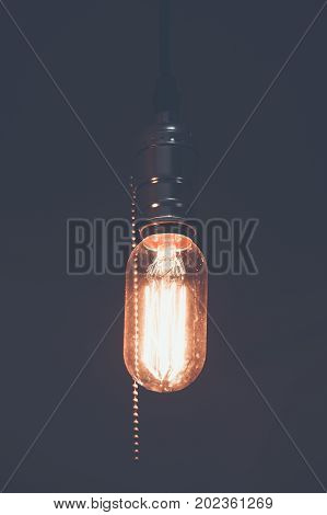 Decoration antique edison led light style filament light bulbs turn on the light copyspace on topcolor vintage styleThailand