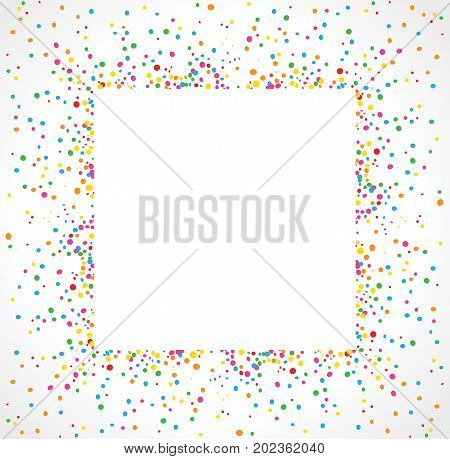 Light background in square format with colorful dots texture around a space for text