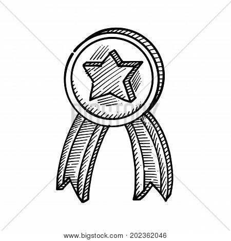 Hand drawing of a medal with a star in the middle