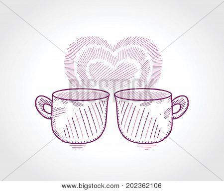 Two mugs with a romantic heart in the white background