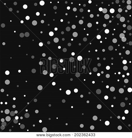Falling White Dots. Random Scatter With Falling White Dots On Black Background. Vector Illustration.