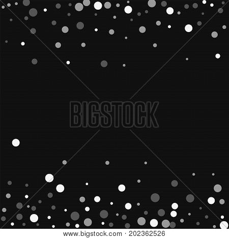Falling White Dots. Scattered Border With Falling White Dots On Black Background. Vector Illustratio