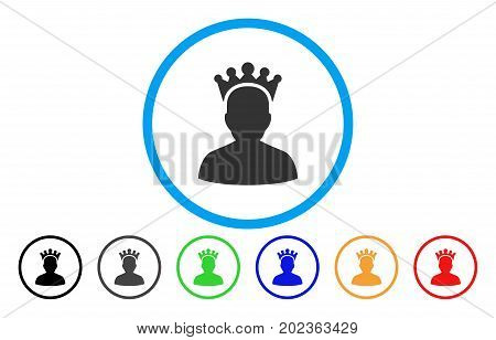 King vector rounded icon. Image style is a flat gray icon symbol inside a blue circle. Additional color versions are grey, black, blue, green, red, orange.