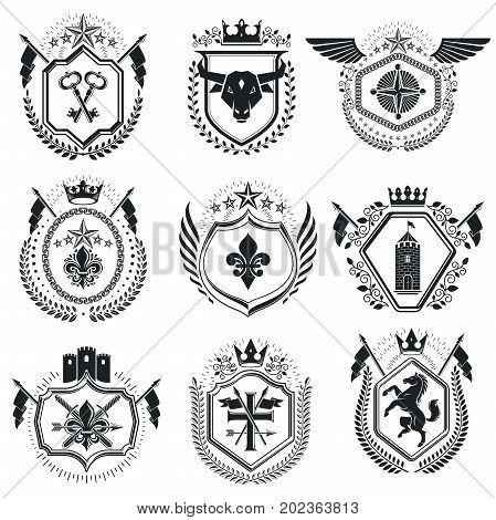Luxury heraldic vectors emblem templates. Vector blazons. Classy high quality symbolic illustrations collection.