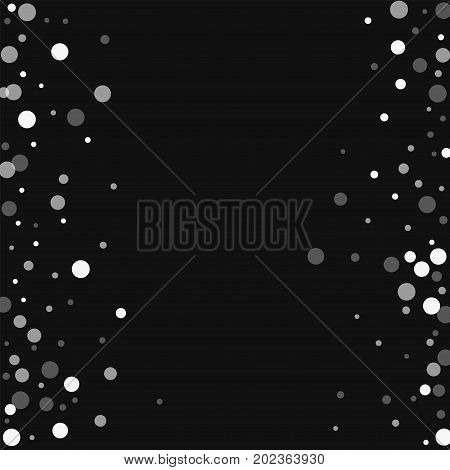 Falling White Dots. Scattered Frame With Falling White Dots On Black Background. Vector Illustration