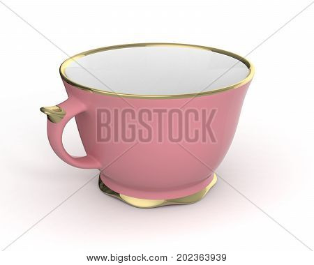 Isolated antique porcelain pink tea cup with gold edging on white background. Vintage crockery. 3D Illustration.