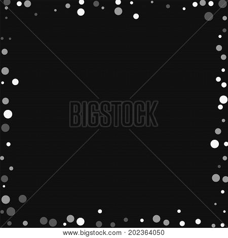 Falling White Dots. Chaotic Frame With Falling White Dots On Black Background. Vector Illustration.
