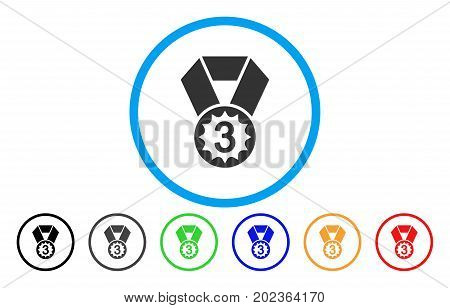 Third Place vector rounded icon. Image style is a flat gray icon symbol inside a blue circle. Bonus color versions are grey, black, blue, green, red, orange.