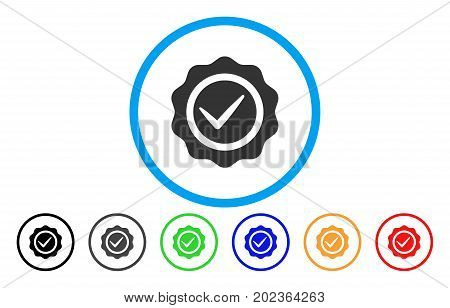 Valid Seal vector rounded icon. Image style is a flat gray icon symbol inside a blue circle. Bonus color variants are grey, black, blue, green, red, orange.