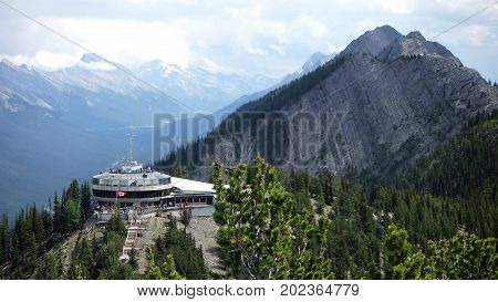 A view of the old Upper Terminal building on Sulphur Mountain, Banff.