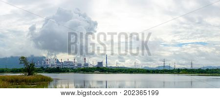 Panorama View Of Coal Fire Power Plant Release Steam To Sky From Stack Tower. Electricity, Climate C