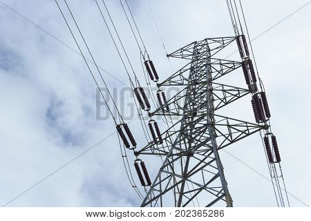 500 KV transmission line in maemoh lampang thailand. electricity transmission pylon with blue sky and cloud. poster