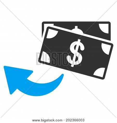 Cashback vector icon. Flat bicolor blue and gray symbol. Pictogram is isolated on a white background. Designed for web and software interfaces.