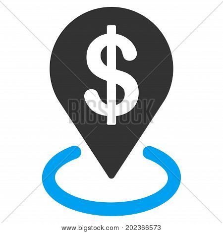 Dollar Placement vector icon. Flat bicolor blue and gray symbol. Pictogram is isolated on a white background. Designed for web and software interfaces.