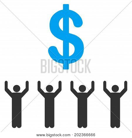 Dollar Religion vector icon. Flat bicolor blue and gray symbol. Pictogram is isolated on a white background. Designed for web and software interfaces.