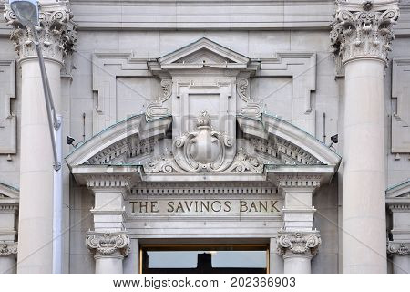 UTICA, NY, USA - FEB. 22, 2013: The Savings Bank of Utica was built in 1900 on 233 Genesee Street in downtown Utica, New York State, USA.