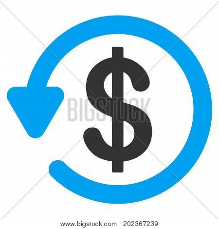 Refund vector icon. Flat bicolor blue and gray symbol. Pictogram is isolated on a white background. Designed for web and software interfaces.