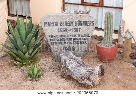 CAPE CROSS NAMIBIA - JUNE 28 2017: A memorial stone at Cape Cross Lodge in the Dorob National Park of Namibia