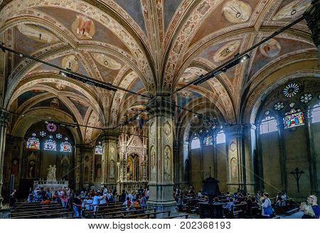 Florence Tuscany Italy. May 23 2017: Polychrome vaults and interior of the church museum called