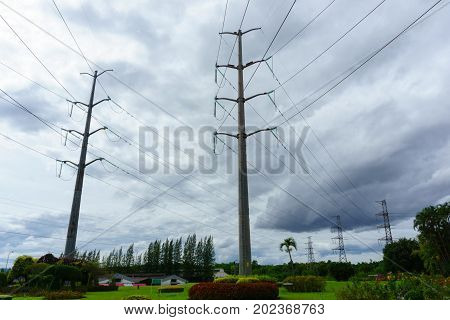High Voltage Electricity Pylon And Transmission Line In The Filed