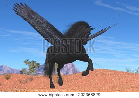 Black Pegasus Horse 3d illustration - A mythical Pegasus with a beautiful black satin coat rises into the sky on powerful wing beats.