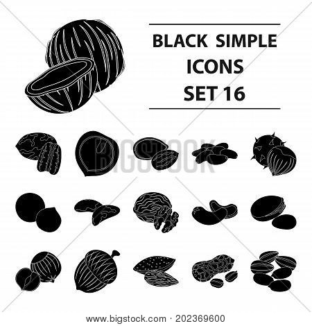 Hazelnut, pistachios, peanuts and other types of nuts.Different types of nuts set collection icons in black style vector symbol stock illustration. poster