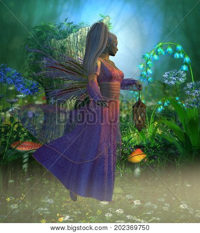 Fairy Laryn 3d illustration - Fairy Laryn flies through the misty forest in the evening holding a bright lantern to light her way.