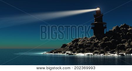 Lighthouse 3d illustration - A red and white lighthouse guides sailors and boatmen away from the rocky shoreline.