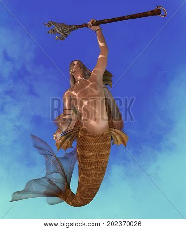 Merman 3d illustration - A Merman is a mythical lengendary creature who may be a handsome seductor made of a man with a fish tail.
