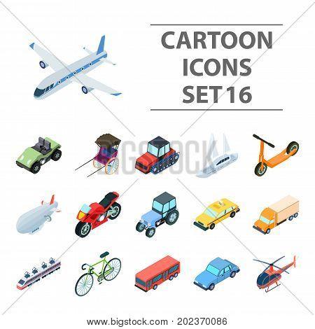 Transportation set icons in cartoon design. Big collection of transportation vector symbol stock illustration