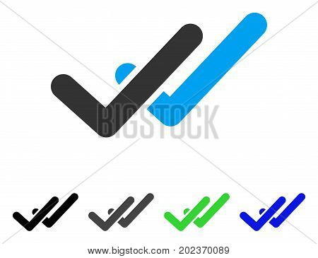 Validation vector pictogram. Style is a flat graphic symbol in black, grey, blue, green color versions. Designed for web and mobile apps.